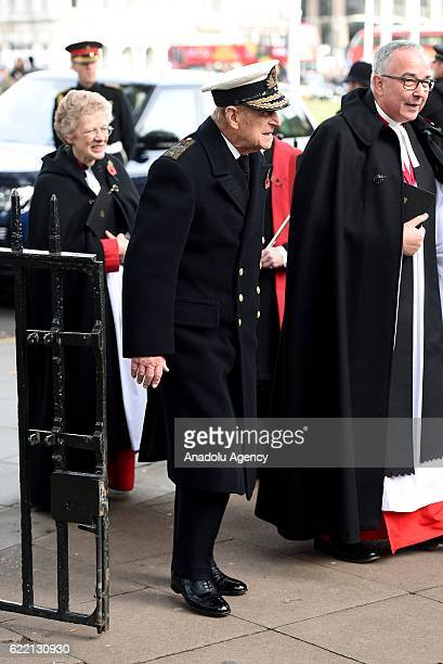 The Duke of Edinburgh visits the Field of Remembrance at Westminster Abbey on November 10th 2016 in London England