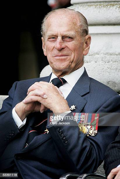 The Duke of Edinburgh watches the Gurka band march past as World War II veterans gather to commemorate the 60th anniversary of VJ Day which marked...