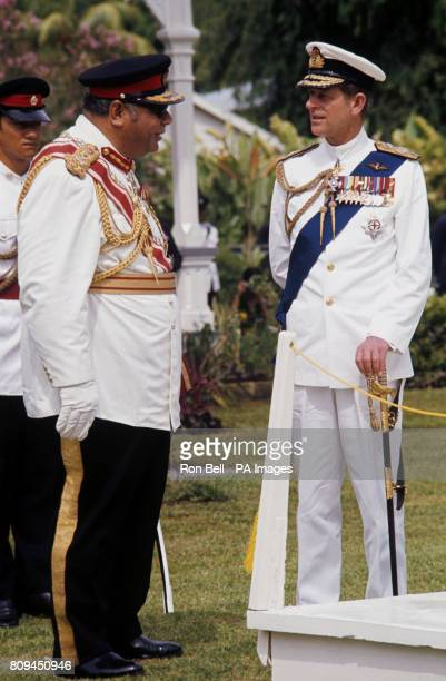 The Duke of Edinburgh with King Taufa'ahau Tupou IV of Tonga at the Royal Palace, in Nukuʻalofa, the capital of Tonga.
