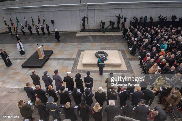 The Duke of Gloucester salutes as he attends the annual Armistice Day Service at The National Memorial Arboretum on November 11, 2017 in Alrewas,...