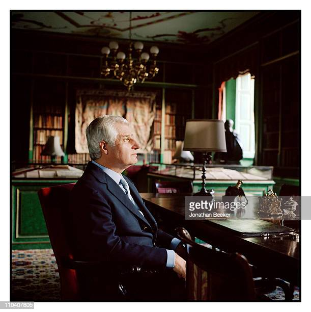 The Duke of Huescar Don Carlos FitzJames Stuart is photographed in the library of the Palacio de Liria for Vogue Espana on March 1517 2010 in Madrid...