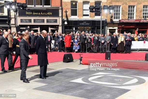 The Duke of Kent and Grand Director of Ceremonies Oliver Lodge attending the Freemasons VC Memorial unveiling event outside the Freemasons' Hall...