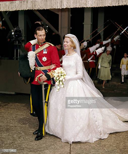 The Duke of Kent and his new bride Katharine after their wedding at York Minster on 8th June 1961