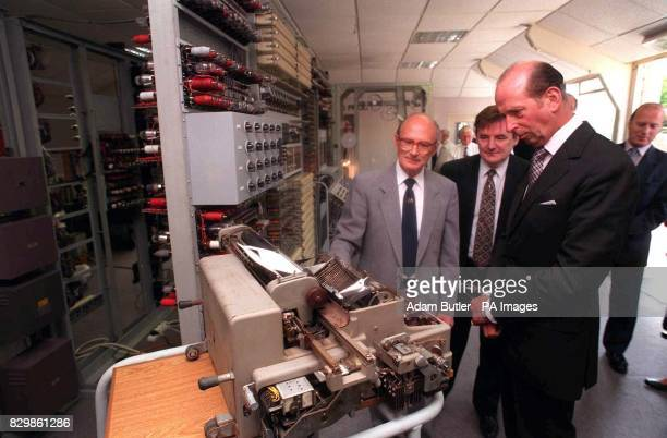 HRH the Duke of Kent is shown the output writer of the 15 feet long World War II code breaking computer known as Colossus The Duke of Kent visited...