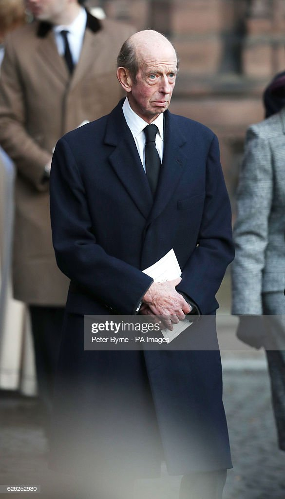 The Duke of Kent leaves after a memorial service to celebrate the life of the sixth Duke of Westminster at Chester Cathedral, Chester.