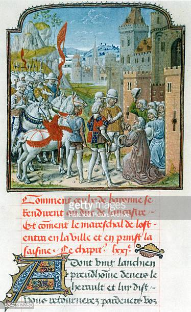 The Duke of Lancaster son of King Edward III of England is greeted at the city gate by the citizens of Bayonne