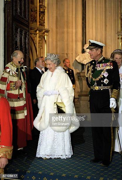The Duke Of Norfolk Greets The Queen And Prince Philip On Arrival At The House Of Lords For The State Opening Of Parliament.