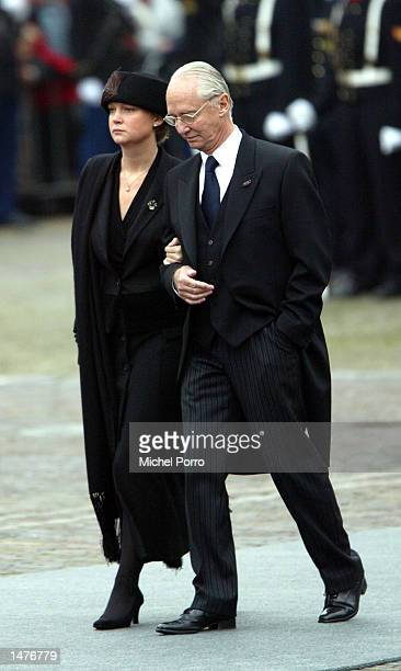 The Duke of Parma and his daughter Princess Carolina arrive for the funeral ceremony of Prince Claus of the Netherlands at the Nieuwe Kerk church...