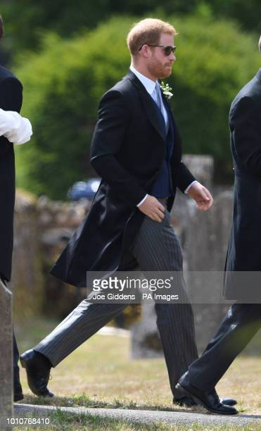 The Duke of Sussex arrives to attend the wedding of Charlie van Straubenzee and Daisy Jenks at St Mary the Virgin Church in Frensham Surrey