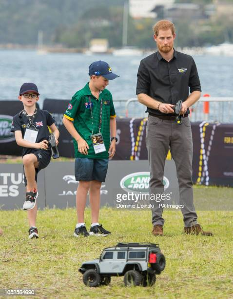 The Duke of Sussex drives a remote control car at the Invictus Games Jaguar Land Rover Driving Challenge on Cockatoo Island Sydney on the fifth day...