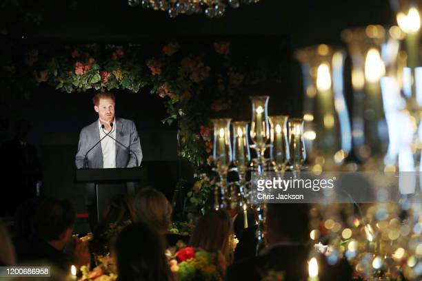 The Duke of Sussex makes a speech as Sentebale held an event on January 19 hosted by Mr Mrs Caring on behalf of The Caring Foundation to raise funds...