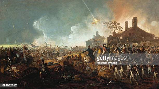 The Duke of Wellington at la Haye Sainte. The Battle of Waterloo. Private Collection. Artist : Sadler, William .
