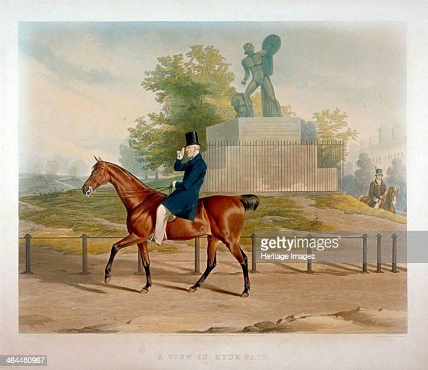 The Duke of Wellington riding past the Achilles statue in Hyde Park London 1844