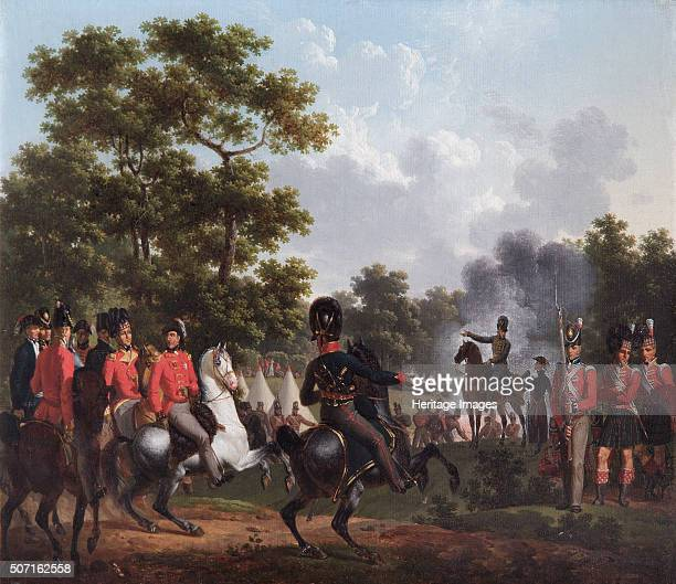 The Duke of Wellington Visiting the Outposts at Soignes', 1815. Set just before the battle of Waterloo, with artistic licence, the Duke is shown on a...
