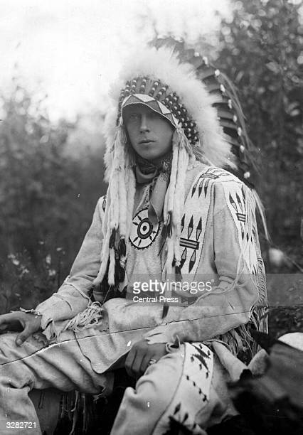 The Duke of Windsor as Edward Prince of Wales wearing the full regalia of Chief Morning Star the title bestowed on him at a powwow of the Stony Creek...