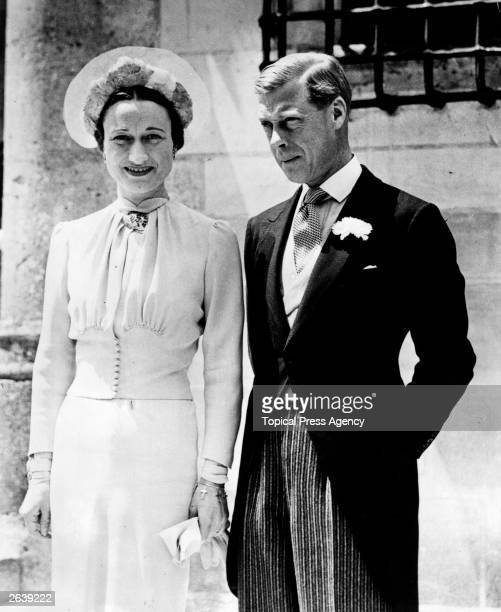 The Duke of Windsor formerly Edward VIII King of Great Britain and the Duchess of Windsor on their wedding day at the Chateau de Conde near Tours...
