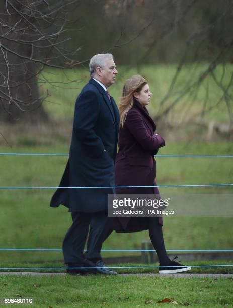 The Duke of York and Princess Beatrice arriving to attend an early church service at St Mary Magdalene Church in Sandringham Norfolk