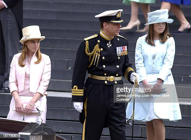 The Duke Of York And Princesses Beatrice Eugenie Attend The Golden Jubilee Service And Procession At St Paul'S Cathedral London