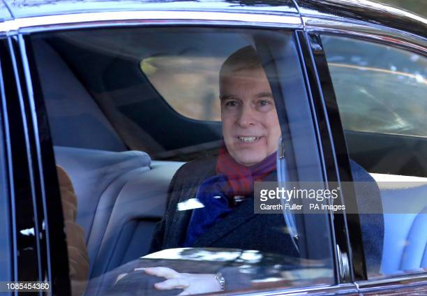The Duke of York attends a service at St Peter's church in Wolferton near the Sandringham Estate