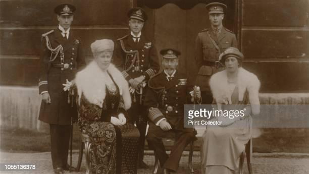 The Duke of York, H.R.H. The Prince of Wales, H.R.H. Prince Henry, H.M. The Queen, H.M. The King, H.R.H. Princess Mary', 1921. The British royal...