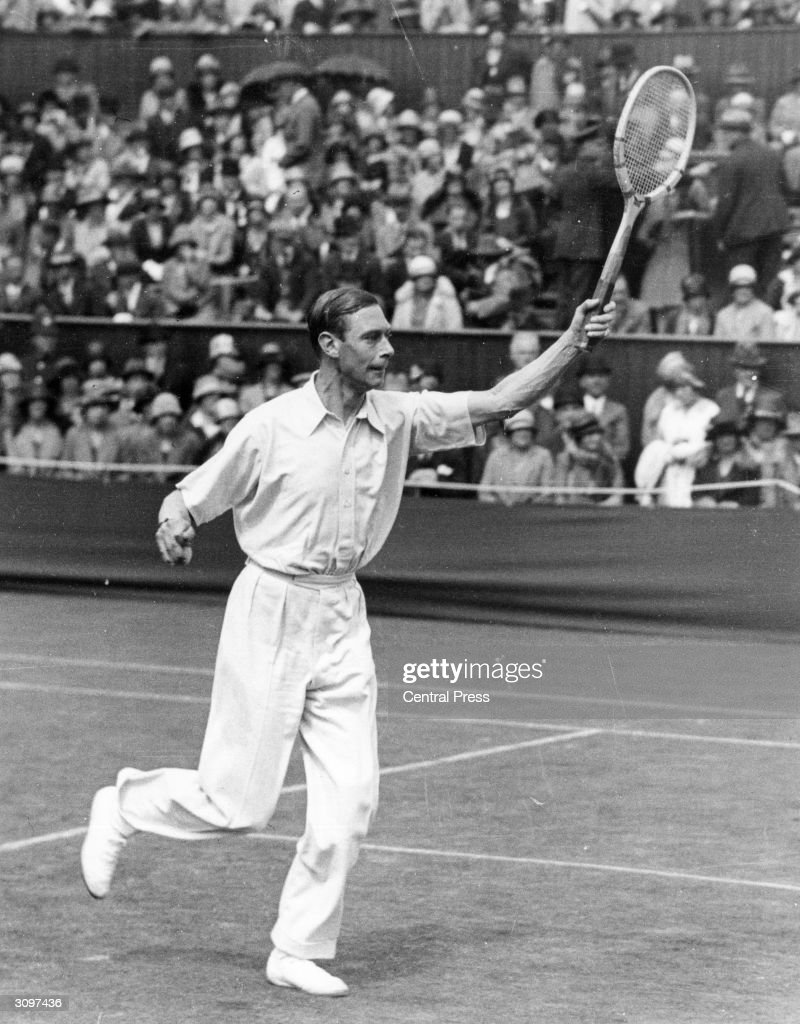 The Duke of York, later King George VI, playing at the Wimbledon tennis championships.