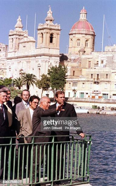 The Duke of York looks out over Malta's Valletta grand harbour with Mr Hector Bruno the Mayor of Valletta this afternoon the Duke is on a two day...