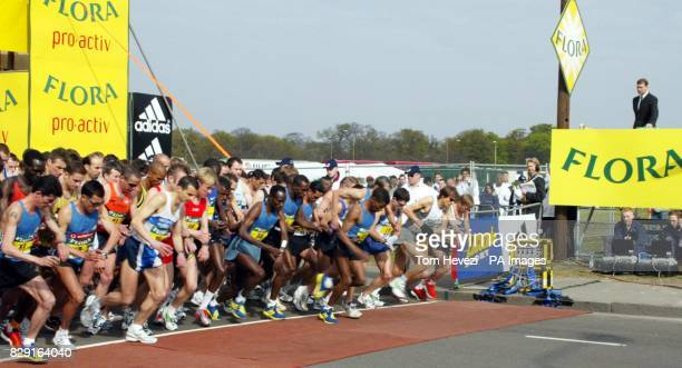 The Duke of York Prince Andrew starts the Flora London Marathon Khalid Khannouchi smashed his own world record in an official time of two hours five...