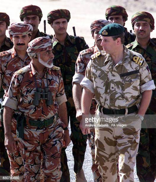 The Duke of York talks to Sultan Qaboos the Sultan of Oman at Camp Fairburn in the desert of Oman British and Oman forces have been taking part in...