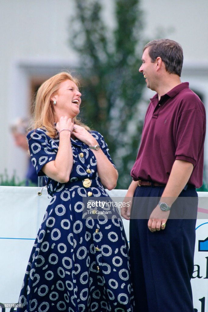 The Duke Of York (prince Andrew) With His Ex-wife, The Duchess Of York (sarah Ferguson) At Wentworth Golf Club For A Golf Tournament In Aid Of The Motor Neurone Disease Association Charity.