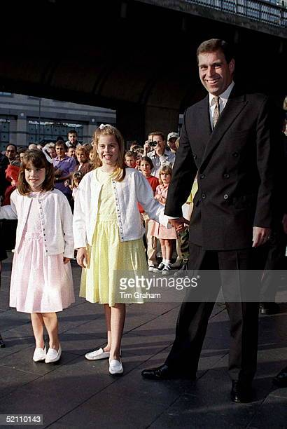 The Duke Of York With Princesses Eugenie And Beatrice Arrive At London's Apollo Theatre To See Drdolittle