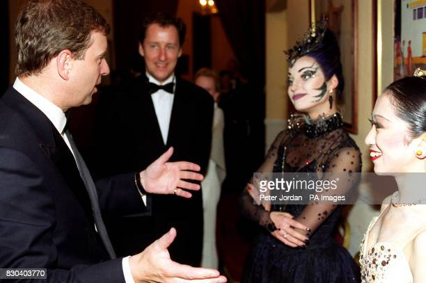 The Duke of York with two dancers from the English National Ballet Erina Takahashi and Anastasia Volochkova after attending a gala of The Sleeping...