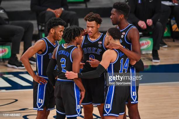 The Duke players huddle up during the NCAA basketball game between the Duke Blue Devils and the Georgia Tech Yellow Jackets on March 2nd, 2021 at...