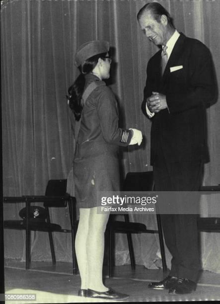 The Duke presents Duke of Edinburgh Award gold medals April 05 1971
