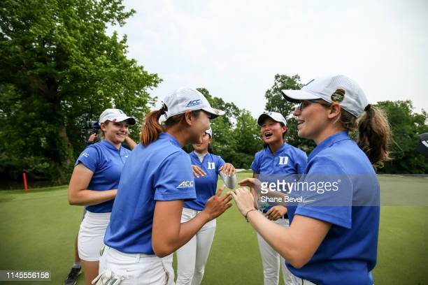 The Duke University Women's golf team celebrates winning the Division I Women's Golf Match Play Championship held at Blessings Golf Club on May 22,...