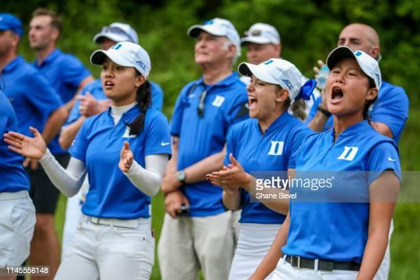 The Duke University Women's golf team reacts to a shot by Miranda Wang of Duke University during the Division I Women's Golf Match Play Championship...