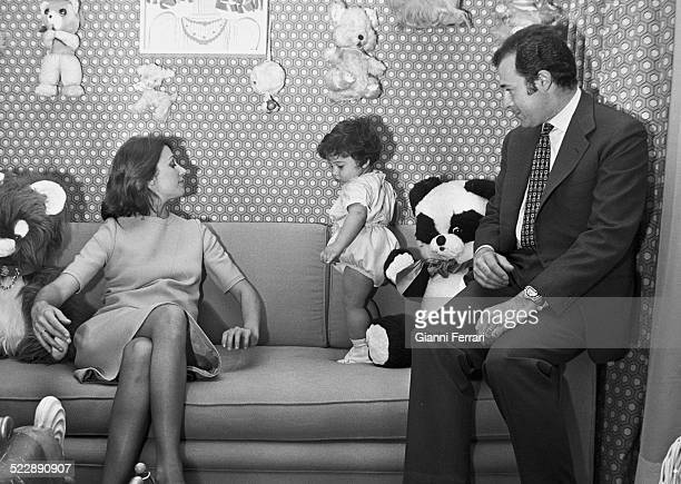 The Dukes of Cadiz Alfonso of Borbon and Carmen Martinez Bordiu with her first child Francisco of Asis at his home in Madrid Spain