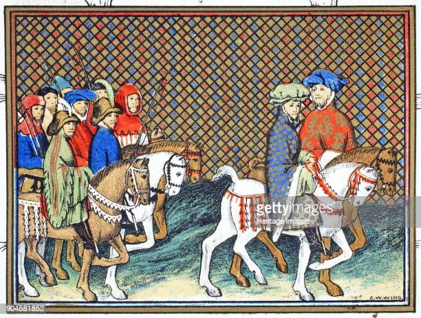 The Dukes of Exeter and Surrey sent by Richard II from Conway castle to Chester to treat with the Duke of Lancaster facsimile copy from Le Prinse et...