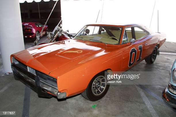 """The Dukes Of Hazard """"General Lee"""" is displayed at the Peterson Automotive Museum auto auction June 15, 2001 in Los Angeles, CA."""