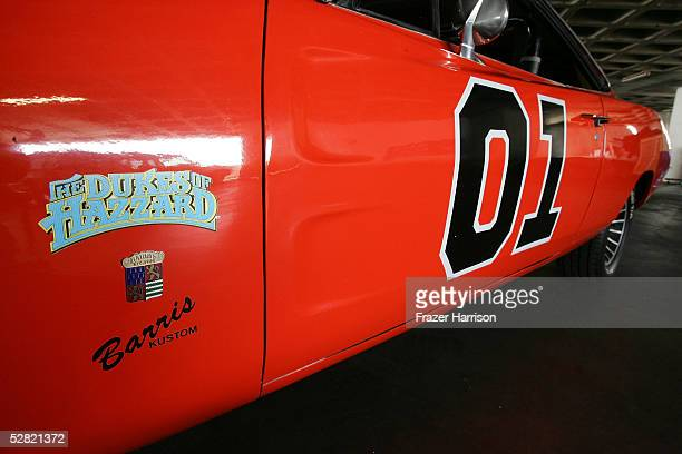"""The """"Dukes of Hazzard"""" General Lee car is displayed at the Barris Star Car Collection Auction at the Petersen Automotive Museum on May 13, 2005 in..."""
