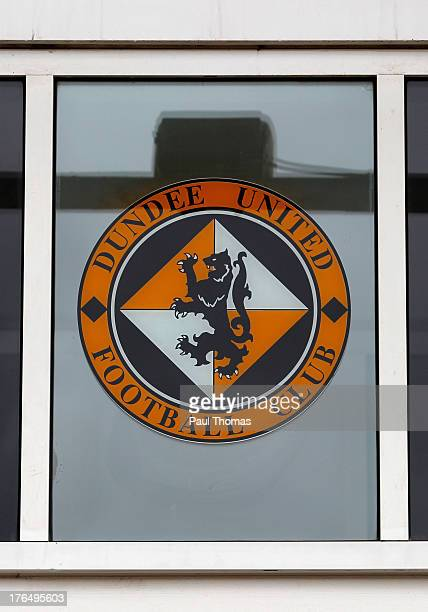 The Dundee United logo sits above the reception before the Scottish Premier League match between Dundee United and Inverness Caledonian Thistle at...