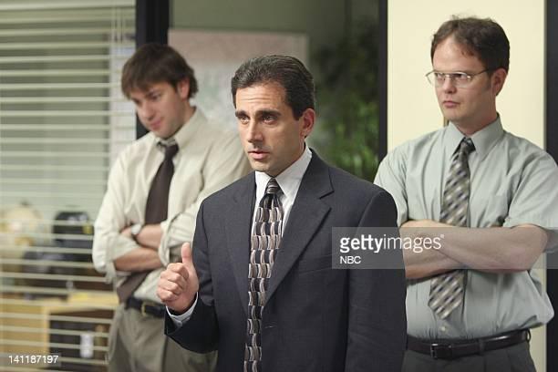 THE OFFICE The Dundies Episode 1 Aired Pictured John Krasinski as Jim Halpert Steve Carell as Michael Scott and Rainn Wilson as Dwight Schrute Photo...