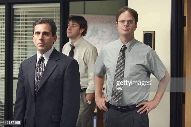 THE OFFICE The Dundies Episode 1 Aired Pictured Steve Carell as Michael Scott John Krasinski as Jim Halpert and Rainn Wilson as Dwight Schrute Photo...