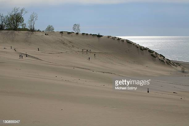 the dunes of mount baldy, indiana dunes national lakeshore, lake michigan, indiana, usa - indiana dunes national lakeshore stock photos and pictures