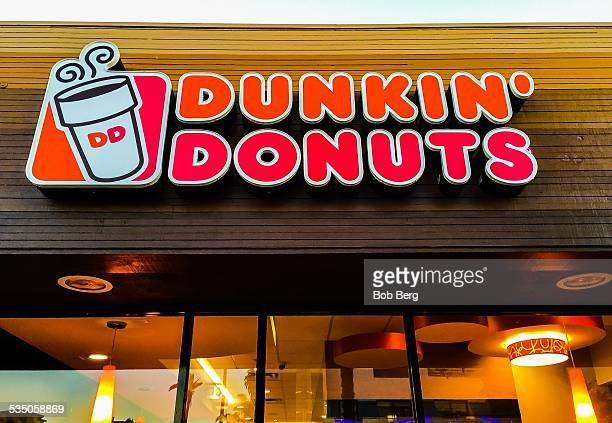 Santa Monica Ca January 27 2015 The Dunkin Donuts retail sign at the 1st Dunkin Donuts store in Southern California in Santa Monica