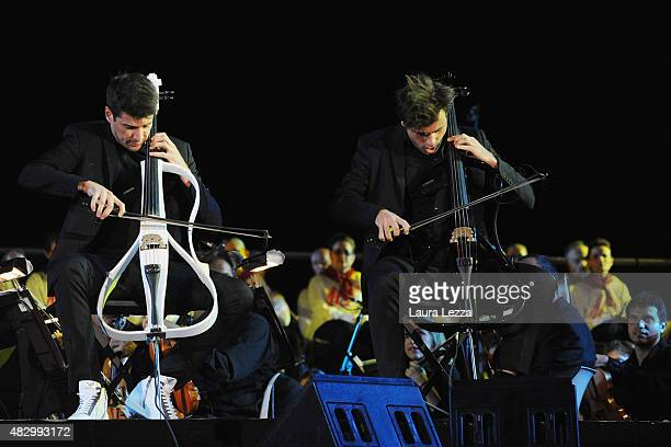 The duo of cellists 2Cellos Stjepan Hauser and Luka Sulic performs on stage at Teatro del Silenzio during the 10th edition of Andrea Bocelli's Teatro...