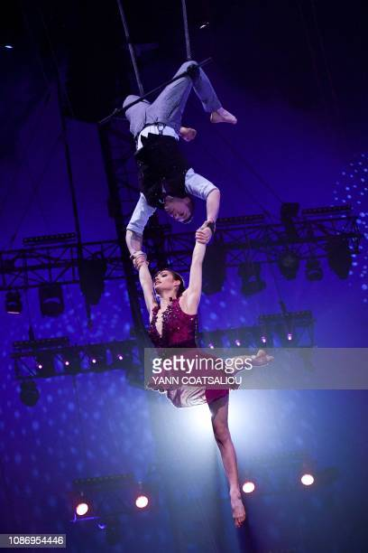 The duo trapeze The Owl and the Pussycat performs during the gala of the 43th MonteCarlo International Circus Festival in Monaco on January 22 2019...