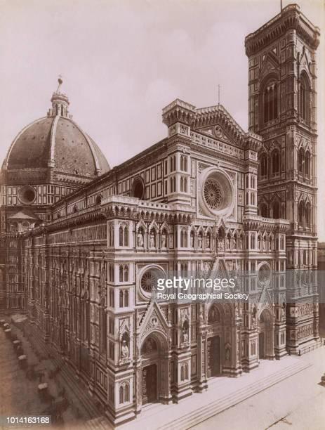The Duomo and Campanile, Florence, Original title written in Italian on photograph 'La Facciata della Cattedrale e il Campanile di Giotto'. There is...