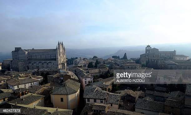 The Duomo of Orvieto is seen in this partial view taken on January 8, 2014. The town of Orvieto is part of the Movement of CittaSlow, the new idea of...