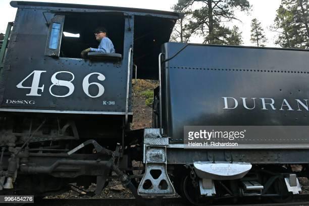 The Durango Silverton Train Locomotive 486 makes its way towards Durango on July 10 2018 near Hermosa Colorado This is one of two locomotives that...