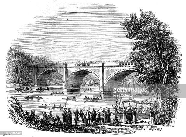 """The Durham Regatta, 1844. '...the picturesque banks of the winding Wear - a strikingly beautiful locality'. From """"Illustrated London News"""" Vol I...."""